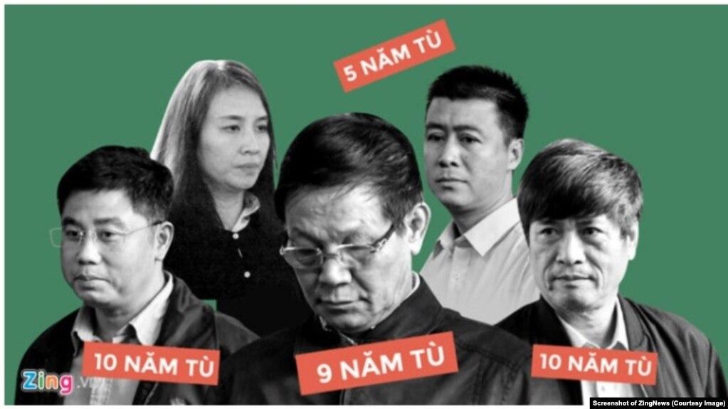 Tướng Phan Văn Vĩnh (giữa) và tướng Nguyễn Thanh Hóa (ngoài cùng bên phải) cùng những bị cáo nhận án tù trong vụ xét xử đường dây đánh bạc nghìn tỷ trên mạng. (Ảnh chụp màn hình ZingNews)