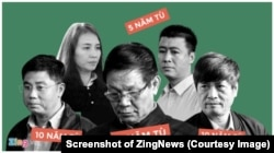 Tướng Phan Văn Vĩnh và Nguyễn Thanh Hóa cùng những bị can nhận án tù trong vụ xét xử đường dây đánh bạc trên mạng. (Ảnh chụp màn hình ZingNews)