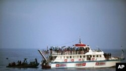 Israeli soldiers raid a ship as the navy intercepts a Gaza-bound aid flotilla in the Mediterranean Sea on 31 May 2010 in a pre-dawn assault which killed several pro-Palestinian activists and sparked global outrage.