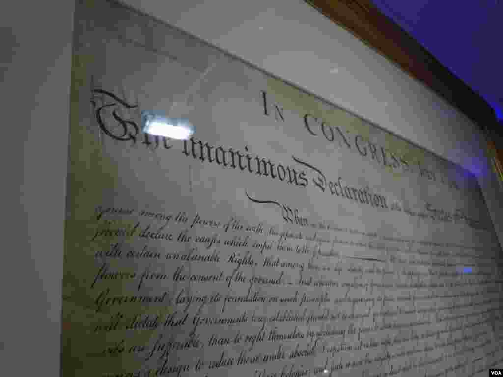 A limited-edition copy of The Declaration of Independence created by William J. Stone in July 1823. (VOA/J. Taboh)