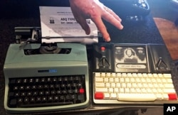 "A 1964 Olivetti Lettera 32 and a Freewrite — a modern, smart typewriter that sends typed documents to the cloud — are on display at a ""type-in"" in Albuquerque, N.M., April 23, 2017."