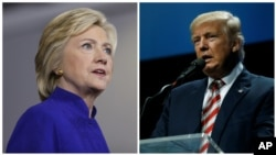 Democratic presidential candidate Hillary Clinton (L), Sept. 21, 2016 and Republican presidential candidate Donald Trump (R), Sept. 22, 2016.