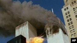2001年9月11号美国纽约世界贸易双子楼遭到恐怖袭击