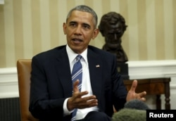 ປະທານາທິບໍດີສະຫະລັດ ທ່ານ Barack Obama ທີ່ກ່າວເຖິງເລື້ອງການສະເໜີຊື່ຂອງຜູ້ທີ່ຈະມາເປັນ ຜູ້ພິພາກສາສານສູງສຸດສະຫະລັດ ໃນທຳນຽບນາວ ນະຄອນຫຼວງວໍຊີງຕັນ, 24 ກຸມພາ, 2016.
