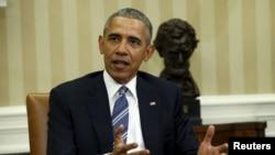 Tổng thống Obama nói về vấn đề bổ nhiệm người vào vị trí thẩm phán Tối cao Pháp viện Mỹ tại Phòng Bầu dục của Nhà Trắng ở Washington, ngày 24/2/2016.
