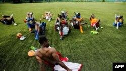Une séance d'entraînement pour les joueurs des Black Stars, une équipe créée pour les footballeurs africains, à Moscou, le 4 juin 2018.