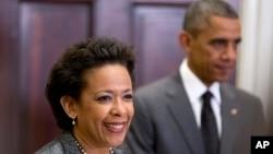 Presiden Barak Obama (kanan) dan Loretta Lynch di Gedung Putih (Foto: dok).