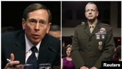 ຮູບ ທ່ານ David Petraeus ຫົວໜ້າອົງການສືບລັບຊີໄອເອຂອງສະຫະລັດ ຖະແຫລງທີ່ ລັດຖະສະພາສະຫະລັດ ຫລື Capitol Hil ທີ່ນະຄອນ Washingtonໃນວັນທີ 31 ມັງກອນ 2012 ແລະ ນາຍພົນ John Allen ວ່າ ຍັງສາມາດສືບຕໍ່ເປັນຜູ້ບັນຊາການກອງກຳລັງທະຫານສະຫະລັດ ໃນອັຟການນີສຖານ ທີ່ໄປເຖິງທີ່ນັ້ນ ເຊັ່ນກັນ ເພື່ອໃຫ້ຄໍາໃຫ້ການ ໃນວັນທີ 28 ມິຖຸນາ 2011.