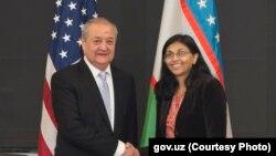 A/S Nisha Biswal and Uzbekistan FM Abdulaziz Kamilov