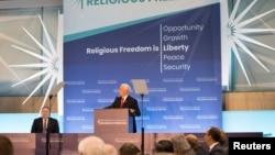 美國國務卿蓬佩奧主持首屆促進宗教自由部長級會議。(2018年7月26日)