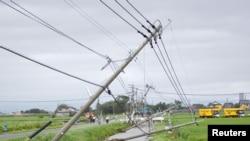 Gió mạnh do bão Goni mang lại quật ngã các cột điện tại thị trấn Kamimine, Nhật Bản.