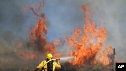 Petugas pemadam kebakaran bekerja melawan Kebakaran Elsmere pada hari Senin, 3 Agustus 2020, di Santa Clarita, California (Foto: AP / Marcio Jose Sanchez)