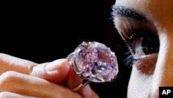 Un diamant rose gros comme une prune, le «Pink Star», avait battu le record mondial pour une pierre vendue aux enchères par Sotheby's, atteignant 71,2 millions de dollars à Hong Kong, le 4 avril 2017.