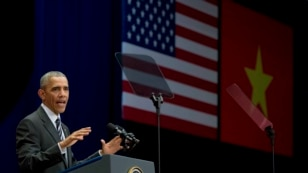 US President Barack Obama delivers remarks at the National Convention Center in Hanoi on May 24, 2016.