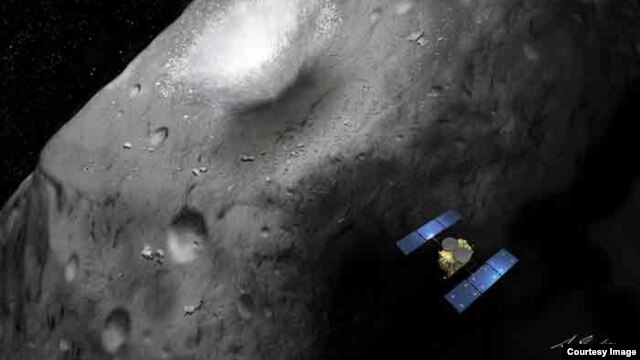 An artist's rendition of the Hayabusa-2 asteroid explorer. (JAXA)