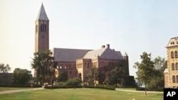 康奈尔大学地标麦格罗塔(McGraw Tower) (1973年8月28日资料照片)