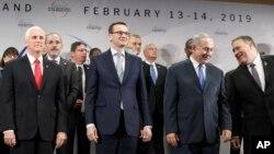 Віце-президент США Майк Пенс, прем'єр-міністр Польщі Матеуш Моравецькі, прем'єр-міністр Ізраїлю Біньямін Нетаньягу та Держсекретар США Майк Помпео, 14 лютого 2019 року в Польщі