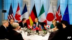 Shugaba Obama da sauran shuwagabannin G7 a birnin Hague.
