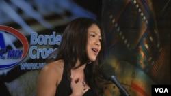"Pop singer Vienne V. sings ""Remember Me"" live on VOA's Border Crossings."