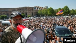 FILE - Armenian opposition leader Nikol Pashinyan addresses supporters during a rally in Yerevan, Armenia, April 25, 2018.