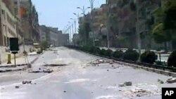 반정부 시위가 격화되고 있는 중부도시 하마의 거리모습