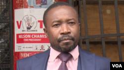 Jacob Mafume, spokesman for opposition Movement for Democratic Change says army and police assaulting protestors (C Mavhunga/VOA)