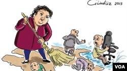 Rəssam Gündüz Ağayevin Xədicə İsmayılova baərsində karikaturası