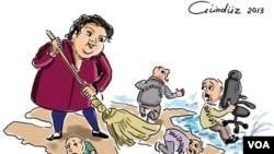 Rəssam Gündüz Ağayevin Xədicə İsmayılova barərsində karikaturası