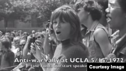 Actress Jane Fonda speaking at an anti-war rally at UCLA (File photo courtesy of UCLA)