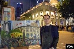 香港畫家Perry Dino。(美國之音湯惠芸攝)