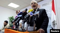 Chairman of the Strong Egypt party, Abdel Moneim Abol Fotouh, speaks during a news conference in Cairo, Feb. 4, 2015.