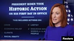 အေမရိကန္သမၼတသစ္ Joe Biden ရဲ႕ အိမ္ျဖဴေတာ္ ေျပာခြင့္ရပုဂၢိဳလ္ Jen Psaki ရဲ႕ သတင္းစာရွင္းလင္းပဲြ။ (ဇန္နဝါရီ ၂၀၊ ၂၀၂၁)
