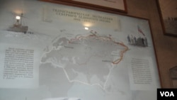 聖彼得堡極地博物館的示意圖顯示,日俄戰爭戰敗後,沙俄海軍部1910-1915年專門組織了從亞洲符拉迪沃斯托克到歐洲阿爾漢格爾斯克兩地之間的北極航道考察探險活動