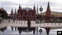 俄罗斯首都莫斯科红场旁的马涅什广场,反对派领袖纳瓦尔尼的支持者计划4月21日在这里举行抗议活动。 (2021年4月19日)