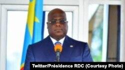 Président Félix Tshisekedi ya RDC mpe mokambi ya Union africaine na Kinshasa, 19 avril 2021. (Twitter/Présidence RDC)