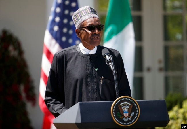 FILE - Nigerian President Muhammadu Buhari speaks during a news conference with President Donald Trump in the Rose Garden of the White House in Washington, April 30, 2018.