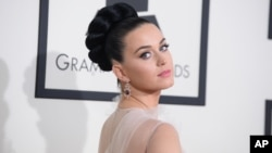 FILE - Katy Perry arrives at the 56th annual Grammy Awards at the Staples Center, Jan. 26, 2014, in Los Angeles.