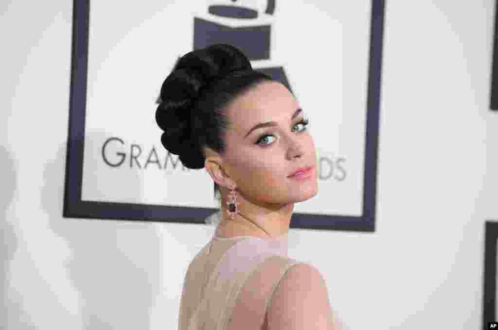 Katy Perry arrives at the 56th annual GRAMMY Awards at Staples Center on Jan. 26, 2014, in Los Angeles.