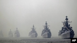 Indian navy ships during the President's Fleet Review (PFR) in the Arabian Sea off the coast of Mumbai, Dec. 20, 2011.
