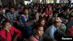 柬埔寨勞工等候回國