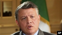 Jordan's King Abdullah is seen in an interview with the BBC in London, Monday, Nov. 14, 2011. King Abdullah has told the BBC that Syrian President Bashar Assad should step down, becoming the first Arab ruler to make such a call.