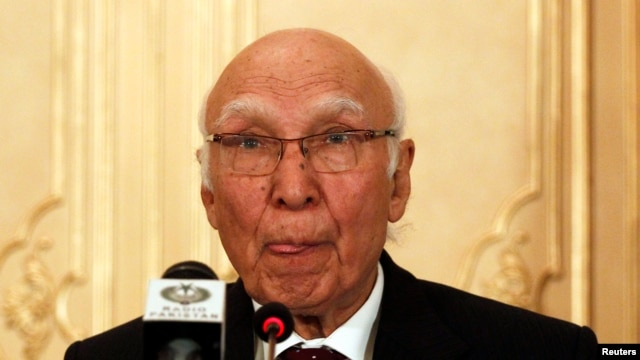 FILE - Sartaj Aziz, Pakistan Prime Minister Nawaz Sharif's adviser on foreign affairs.