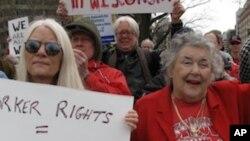 支持工会者在华盛顿示威,反对紧缩措施