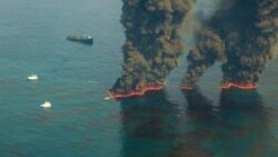 A US Coast Guard picture of attempts in May to control oil in the Gulf of Mexico through burning