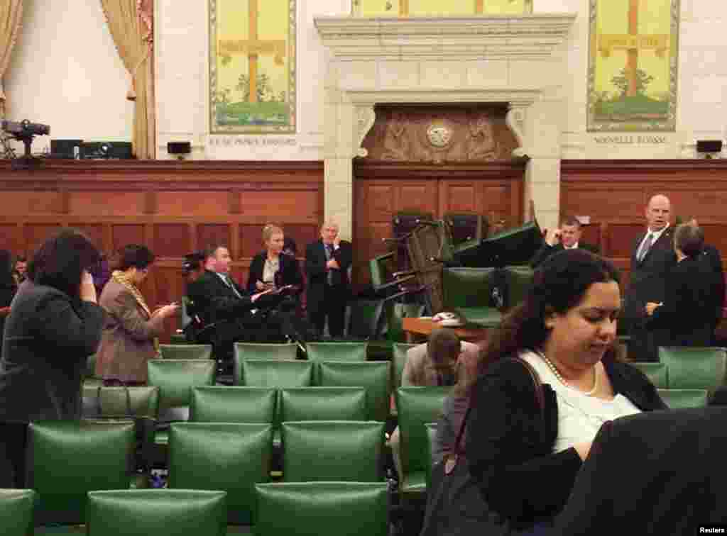The Conservative Party caucus room is seen shortly after shooting began on Parliament Hill in Ottawa in this image taken and provided by MP Nina Grewal.