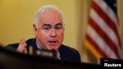 """FILE - """"Iran shouldn't get one red cent in U.S. sanctions relief until it has paid its victims what they are owed,"""" says Republican Representative Patrick Meehan of Pennsylvania."""