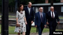 Prince William, the Duke of Cambridge and Catherine, The Duchess of Cambridge meet with Holocaust survivors during their visit at the museum of former German Nazi concentration camp Stutthof in Sztutowo, Poland, July 18, 2017.