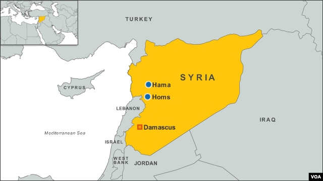 Homs, Hama, Damascus, Syria map
