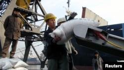 지난 2003년 3월 북한 남포항에서 유엔 산하 세계식량계획(WFP)가 지원한 식량을 하역하고 있다. (자료사진)
