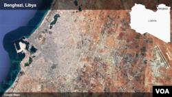 လစ္ဗ်ားႏိုင္ငံ ဘင္ဂါဇီျမိဳ႕ ေျမပံု (ဓာတ္ပံု-Google Maps)